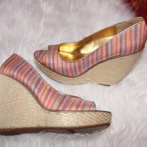 Rainbow and hemp wedge sandals